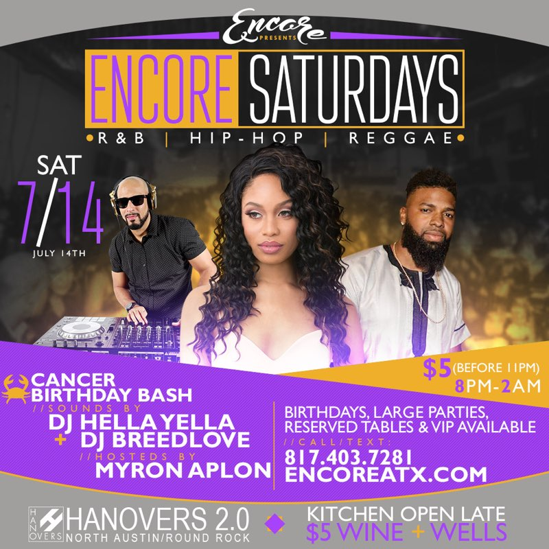 Encore Saturdays - R&B | Hip Hop | Reggae @ Hanovers 2.0 | Austin | Texas | United States