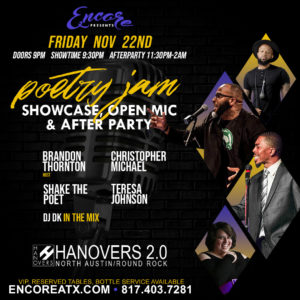 Poetry Jam Open Mic | 11.22 @ Hanovers 2 | Austin | Texas | United States
