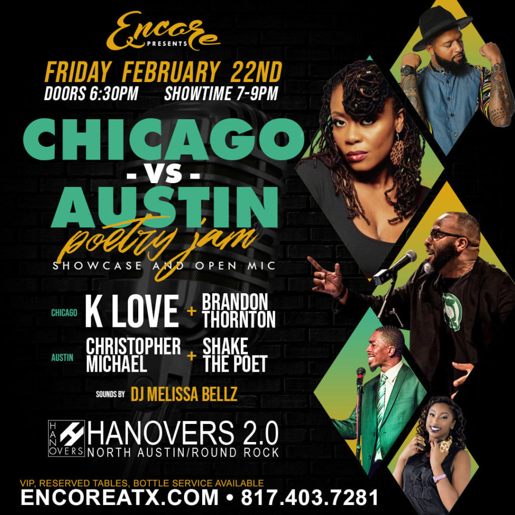 CHI vs ATX Poetry Jam | 2.22 @ Hanovers 2 | Austin | Texas | United States