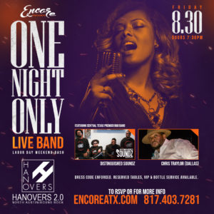 One Night Only Live Band | 8.30 @ Hanovers 2 | Austin | Texas | United States
