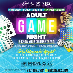 Adult Game Night & After Party | 7.26
