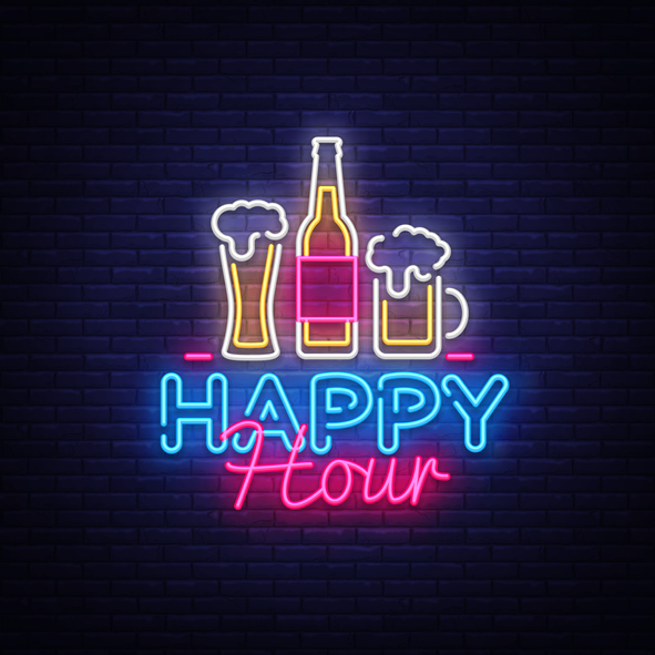 Happy Hour neon sign vector. Happy Hour Design template neon sign, Night Dinner, celebration light banner, neon signboard, nightly bright advertising, light inscription. Vector illustration.