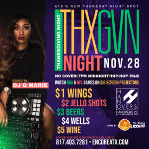 Thanksgiving Night Live $1 Wings $4 Well Drinks