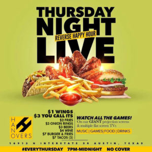 Thursday Night Live $1 Wings $3 You Call Its